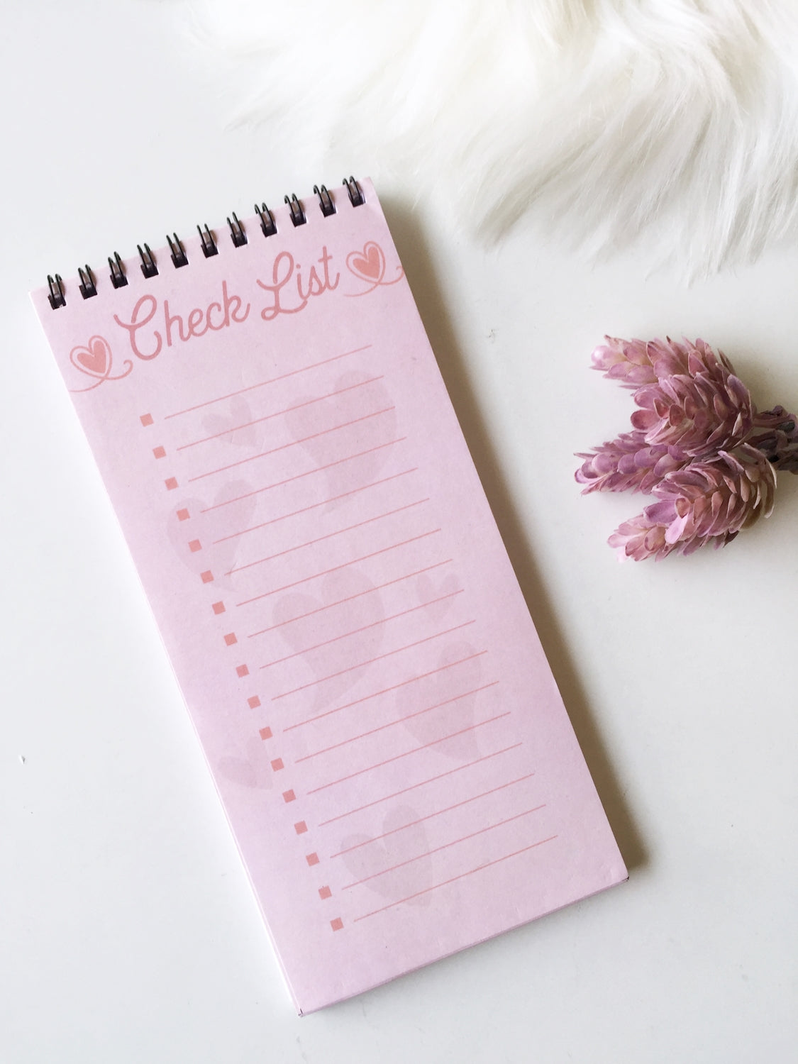 Pink SweetHeart Checklist | 50 sheets | Spiral bound