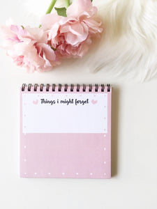 Tiny Blush Pink Notepad | 50 sheets | Spiral bound