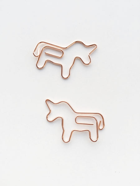 Unicorn Paper Clips | Rose Gold | Set of 4 or 8
