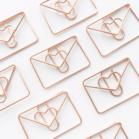 Love Letter Paper Clips | Rose Gold | Set of 4 or 8