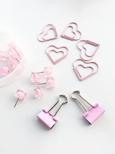 Pink Peonies Stationery Set | Push pins, Binder Clips and Paper Clips