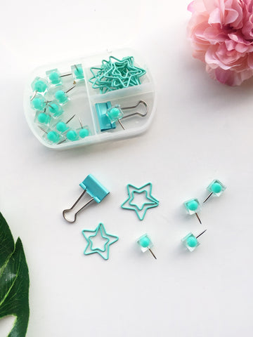 Mint Amour Stationery Set | Push pins, Binder Clips and Paper Clips