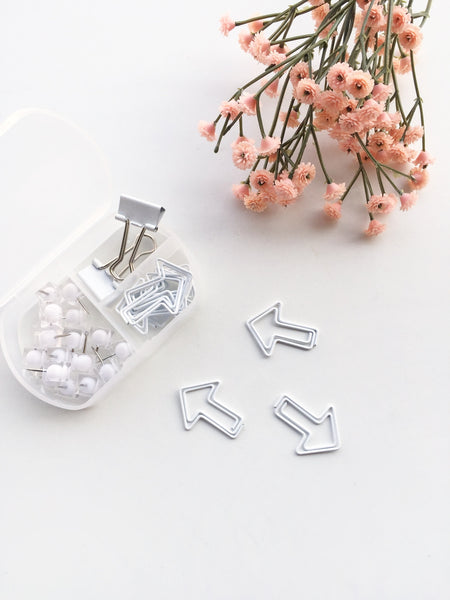 Ivory Crush Stationery Set | Push pins, Binder Clips and Paper Clips