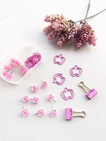 French Rose Stationery Set | Push pins, Binder Clips and Paper Clips