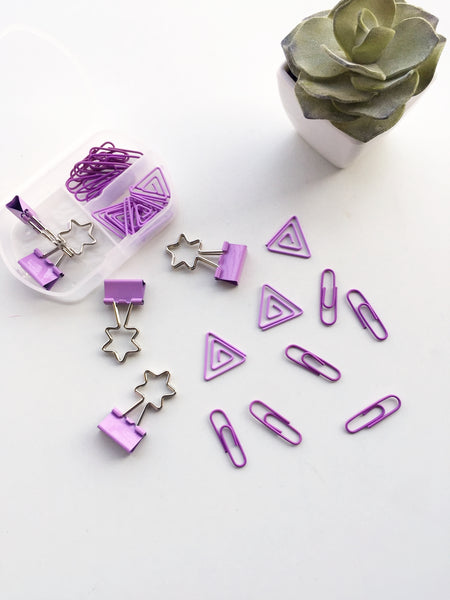 Purple Obsession Stationery Set | Binder Clips and Paper Clips