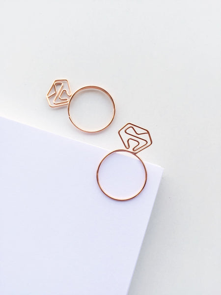 Diamond Ring Paper Clips | Rose Gold | Set of 4 or 8