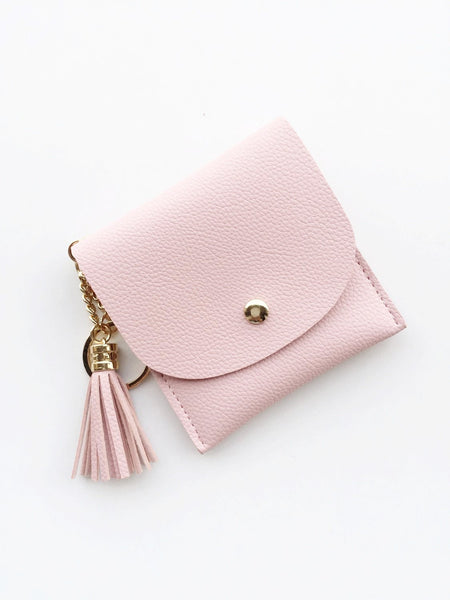 Gold Tassel Money Purse with keychain | Blush pink / Powder grey
