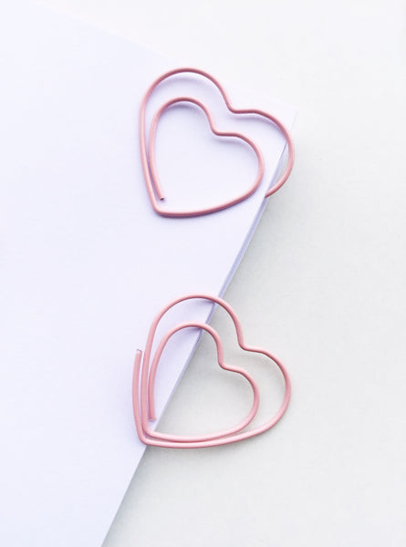 Lovely Pink Heart Paper Clips | Set of 4 or 8