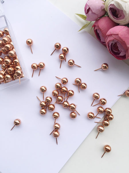 Oh so Chic Rose Gold Push Pins | 70 Pcs per set
