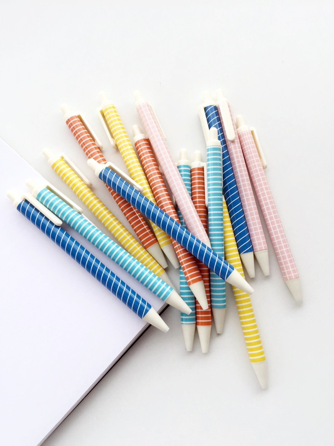 Striped & Grid Pens (Baby Pink, Light Blue, Orange, Yellow & Blue) | Set of 5 | Black Ink