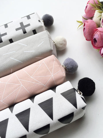 Dainty Geometric Pencil Pouches with Pom Pom | 1 Pc