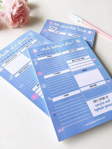 Cool blue Vibes Daily/ Weekly/Monthly Planners | A5 Size | 50 sheets each