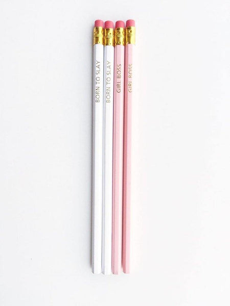 Boss Babe Gold stamped Pencils | Ivory & Peachish Pink