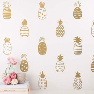 Assorted Pineapple Gold Wall Decal | 20 Pcs | Self Adhesive