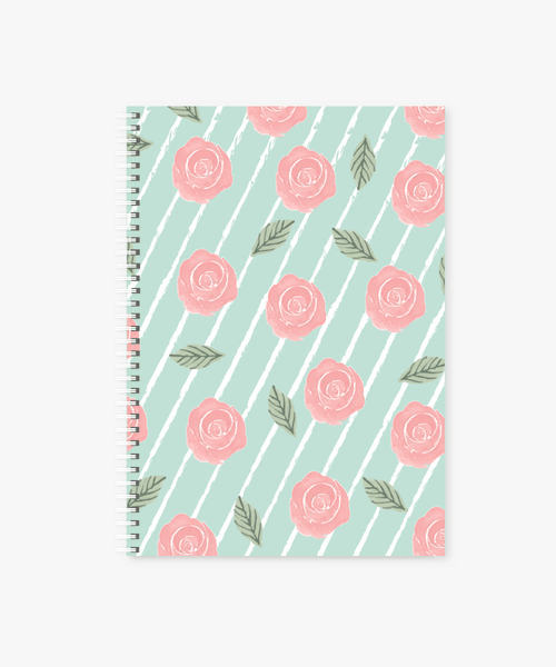 Botanical Roses Spiral Bound Soft Cover Notebook | A4 size