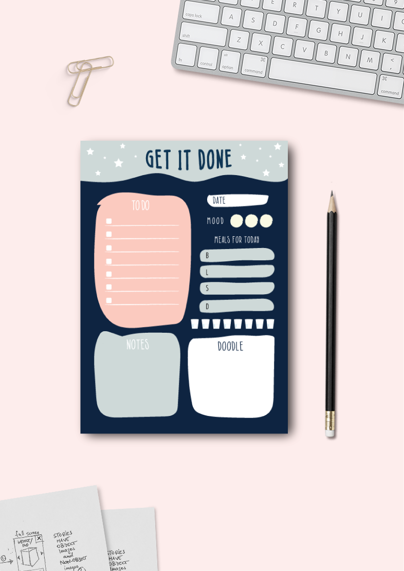 Get it Done | Daily Planner | A5 Size | 50 Sheets Pad