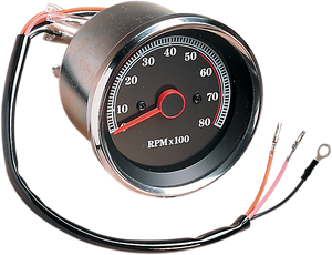8000 RPM Electronic Tachometer - Stainless Housing Ring - Black Face - Lutzka's Garage