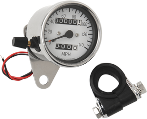 "2.4"" MPH Mini LED Mechanical Speedometer/Indicators/Trip - Chrome Housing - White Face - 2:1 - Lutzka's Garage"