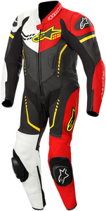 Youth GP Plus 1-Piece Leather Suit - Black/White/Red/Yellow - 150