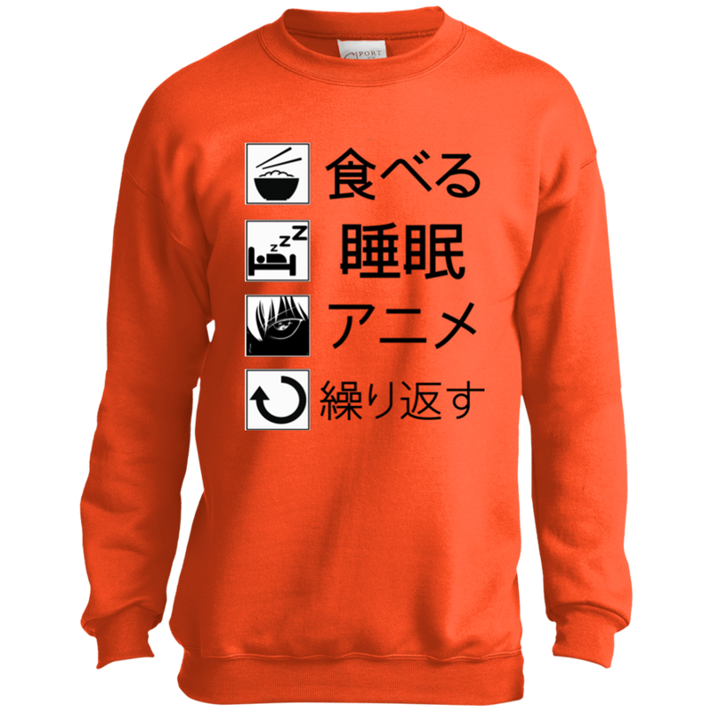 Eat Sleep Anime Repeat Youth Crewneck Sweatshirt