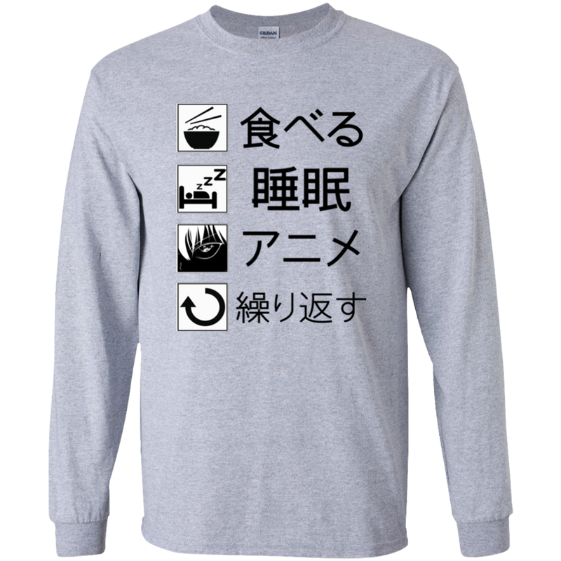 Eat Sleep Anime Repeat Youth LS T-Shirt
