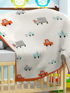 Car Stroll - Ivory, Bright Orange & Light Grey Melange Color Cotton Knitted Throw / AC Blanket for Kids / Teens for use in all Seasons