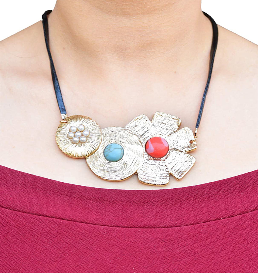 3 Color Metal Crochet Choker Flower Statement Necklace for Women