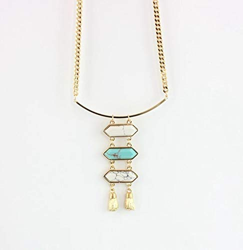 3 Layered Metal Pendent and Gold Chain Necklace for Girls and Women