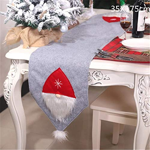 CORAL TREE Christmas 3D Santa Claus Table Runner Dining Table Decoration (Grey) - Coral Tree