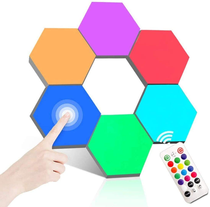 DUAL function -Touch and Remote control -Multicolor Hexagonal Wall Modular Touch Sensitive Lights  (Pack of 6) - Coral Tree