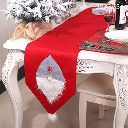 CORAL TREE Christmas 3D Santa Claus Table Runner Dining Table Decoration (RED) - Coral Tree