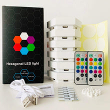 Load image into Gallery viewer, DUAL function -Touch and Remote control -Multicolor Hexagonal Wall Modular Touch Sensitive Lights  (Pack of 6)