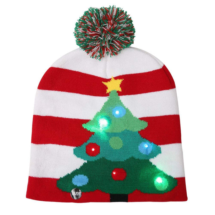 CORAL TREE Woolen Christmas Multiple Switching Function LED Caps (Tree Cap) - Coral Tree