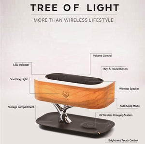 Modern LED Table Lamp Dimmable Bluetooth Speaker Phone Charger Wireless Desk Lamp - Coral Tree