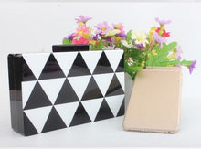 Load image into Gallery viewer, Coral Tree Black And White Triangle Shape Style Acrylic Clutch