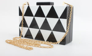 Coral Tree Black And White Triangle Shape Style Acrylic Clutch