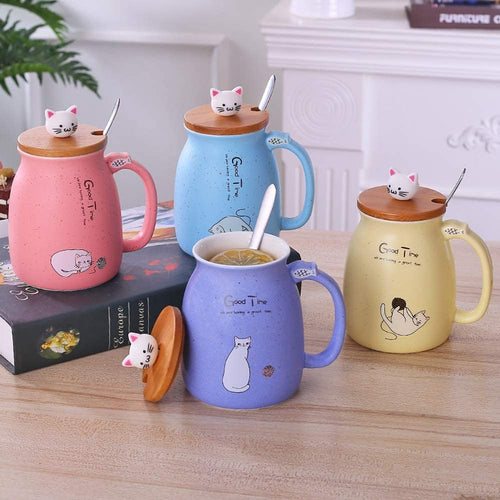 Cartoon Ceramic Mug Cat Heat-resistant Cup With Lid Kitten 420ml