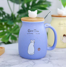 Load image into Gallery viewer, Cartoon Ceramic Mug Cat Heat-resistant Cup With Lid Kitten 420ml