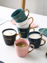 Load image into Gallery viewer, Ceramic Coffee Cup And Saucer Set Milk Tea Mugs