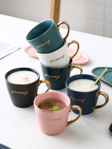 Ceramic Coffee Cup And Saucer Set Milk Tea Mugs