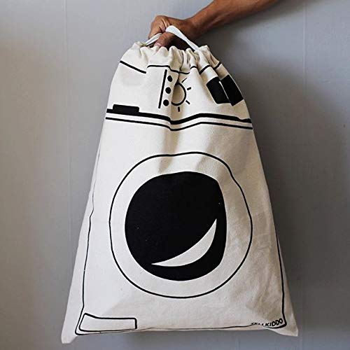 CORAL TREE Cotton Canvas White Laundry Bag (White)
