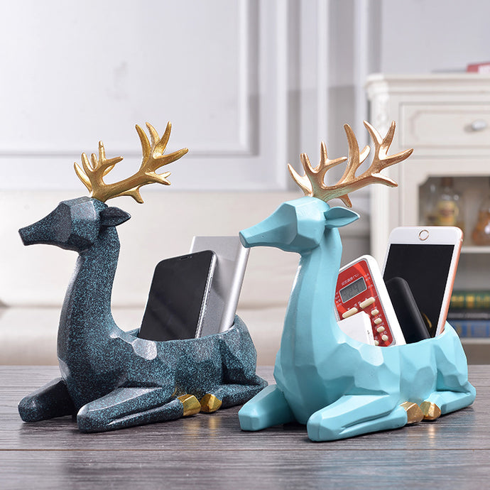 Creative Modern Resin Deer Figurine Animal Statue Ornaments Phone Remote Control Storage Organizer - Coral Tree