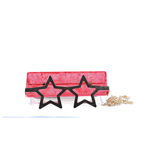 Coral Tree Designer Velvet Box Clutch Crossbody Sling Bag with Metal Star Spects Evening Handbag - Red - Coral Tree