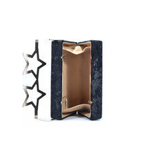 Load image into Gallery viewer, Coral Tree Designer Velvet Box Clutch Crossbody Sling Bag with Metal Star Spects Evening Handbag - Black