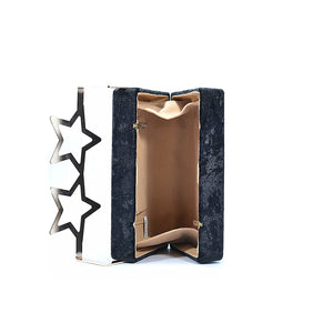 Coral Tree Designer Velvet Box Clutch Crossbody Sling Bag with Metal Star Spects Evening Handbag - Black