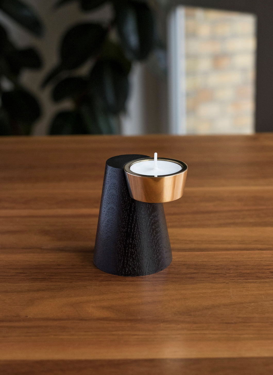 T- Candle Holder in Wood and Brass Stand for Diwali and Home Decoration