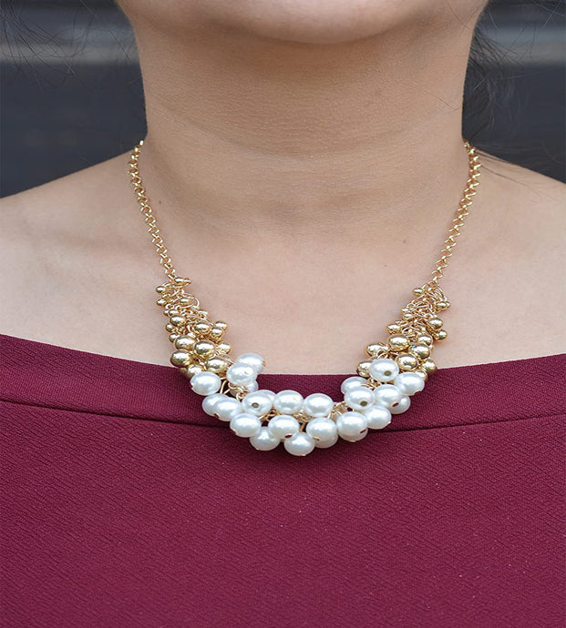 Gold Pearl Beads Party Necklace for Women and Girls