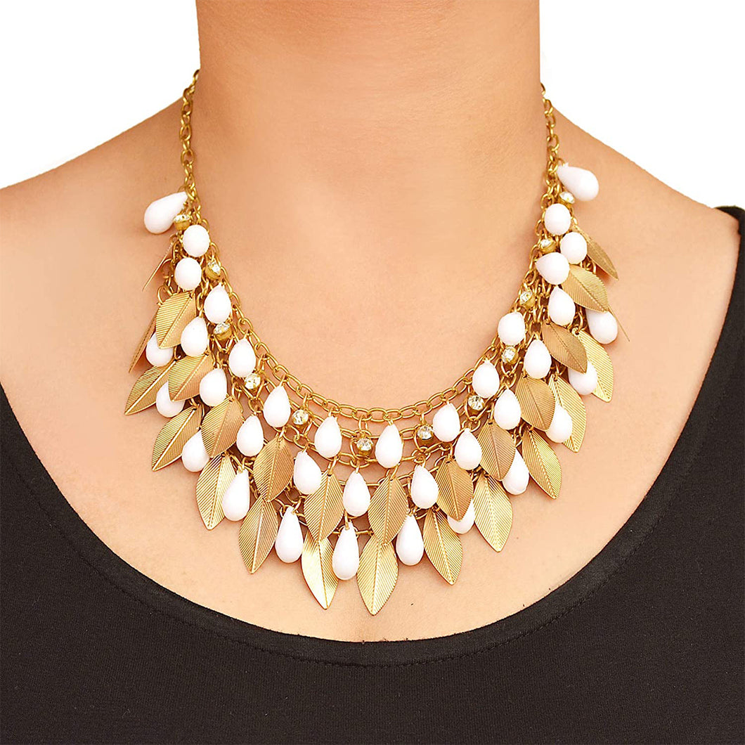 Golden Leaf Metal with Pearl Drop Necklace for Women