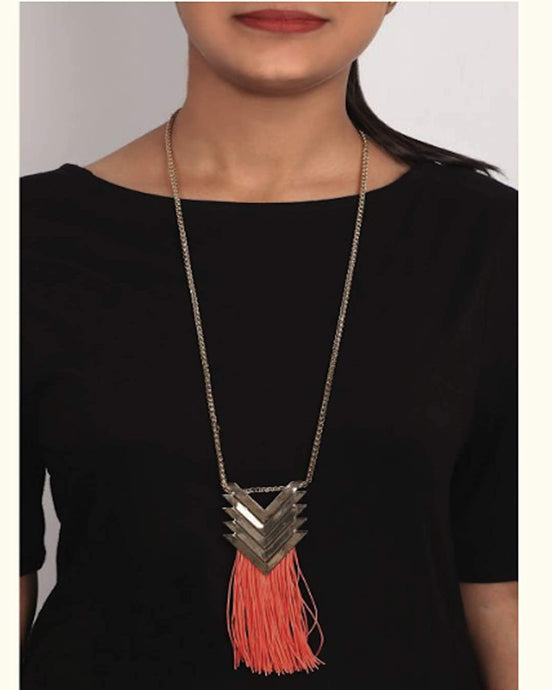 Grey Arrow Design Pendant Necklace with Hanging Tassels Jewellery for Women