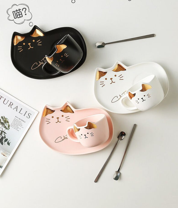 Ceramic Coffee Cup Set Cartoon Cat Tea Cup with Saucer Spoon - Coral Tree